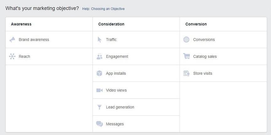 Objetivos de los servicios publicitarios de Facebook para anuncios